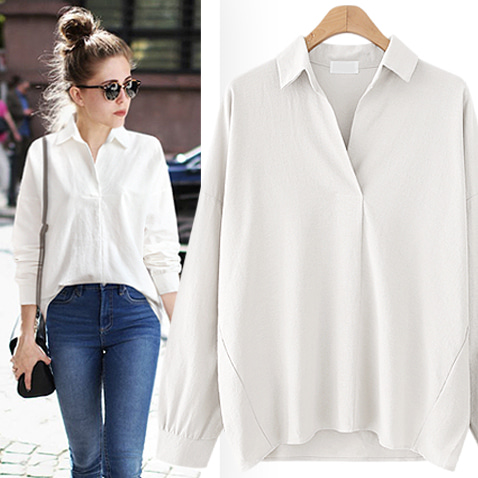 BL2273/Daily Loose-Fit Cotton Blouse