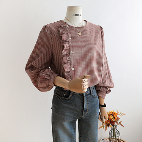 BL2571/Lovely Check Frill Blouse/1(F~77),2(88~99),3(100~110)