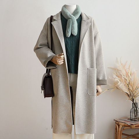 OT1892/Soft Long Belt Slit Coat(55~통통66)/울20% [기획 40%할인]