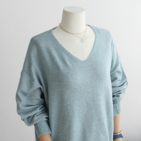 T4372/Keily V-neck Loose Knit Top (55~통통66)