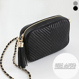 BAG0317/Chain Tassel Real Leather Square Bag