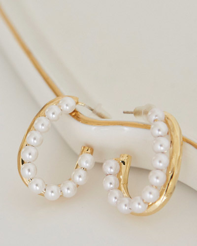 AC0011/Pearl Gold Two Way Earrings