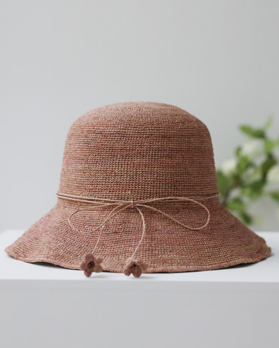 H1344/Ribbon Raffia Bucket Hat_4c